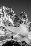 Hiker, Les Drus, Chamonix Needles, French Alps, France