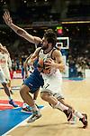 Real Madrid´s Facundo Campazzo and Anadolu Efes´s Deniz Kilicli during 2014-15 Euroleague Basketball match between Real Madrid and Anadolu Efes at Palacio de los Deportes stadium in Madrid, Spain. December 18, 2014. (ALTERPHOTOS/Luis Fernandez)