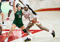 COLLEGE PARK, MD - DECEMBER 8: Stephanie Karcz #10 of Loyola defends against Kaila Charles #5 of Maryland during a game between Loyola University and University of Maryland at Xfinity Center on December 8, 2019 in College Park, Maryland.