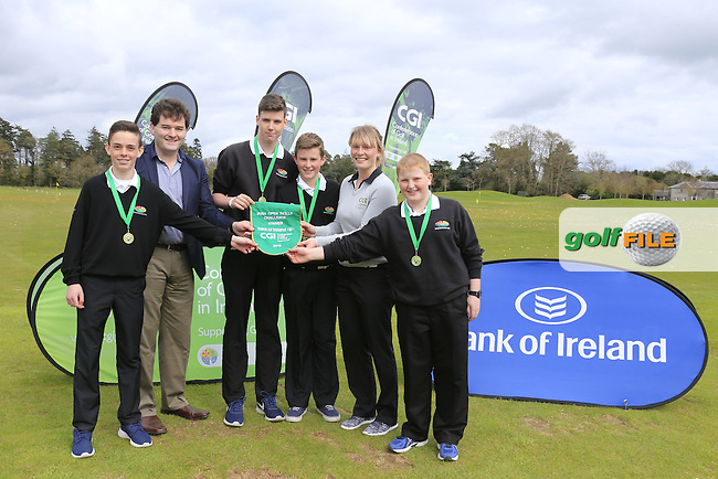 Gavin Kelly Bank Of Ireland and Kate Whyte CGI Enniscrone Golf Club members Tony Conlon, Connor Ruddy, Cormac Feeney and Odhran Colonna national winners of the national finals of the Dubai Duty Free Irish Open Skills Challenge supported by Bank of Ireland in conjunction with CGI at the GUI National Golf Academy, Carton House, Maynooth, Co Kildare. 24/04/2016.<br /> Picture: Golffile | Fran Caffrey<br /> <br /> <br /> All photo usage must carry mandatory copyright credit (&copy; Golffile | Fran Caffrey)