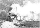 Pilot-end fireman's-side view of leased D&amp;RGW #463 northbound on the RGS having just crossed the Animas River Bridge 451-A with a freight.<br /> RGS  Durango, CO  Taken by Hilner, Ray C. - 8/19/1949