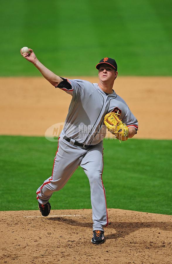 Apr. 8, 2012; Phoenix, AZ, USA; San Francisco Giants pitcher Matt Cain throws in the sixth inning against the Arizona Diamondbacks at Chase Field. Mandatory Credit: Mark J. Rebilas-
