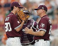 Texas A&M Manager Rob Childress visits with Freshman pitcher Brooks Raley against Texas on May 16th, 2008 in Austin Texas. Photo by Andrew Woolley / Four Seam images.