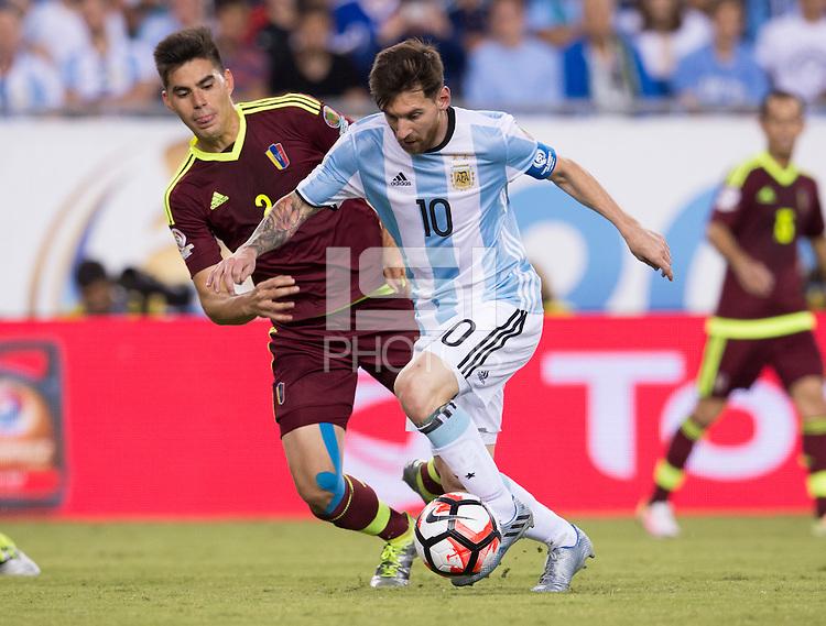 Foxborough, MA - Saturday June 18, 2016: Lionel Messi during a Copa America Centenario quarterfinal match between Argentina (ARG) and Venezuela (VEN)  at Gillette Stadium.