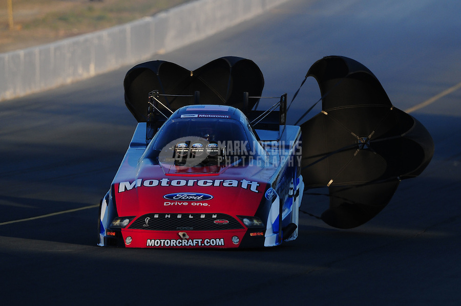 Jul. 29, 2011; Sonoma, CA, USA; NHRA funny car driver Bob Tasca III during qualifying for the Fram Autolite Nationals at Infineon Raceway. Mandatory Credit: Mark J. Rebilas-
