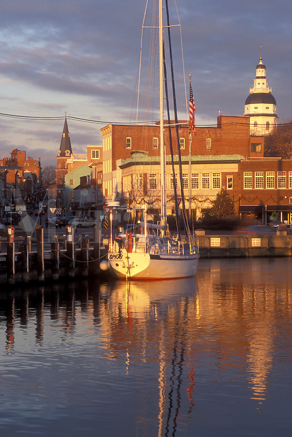 Annapolis, MD, Maryland, City Dock in downtown Annapolis at sunrise.