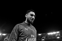 Antonio Donnarumma of AC Milan warms up ahead the Serie A 2018/2019 football match between AS Roma and AC Milan at stadio Olimpico, Roma, February 3, 2019 <br />  Foto Andrea Staccioli / Insidefoto <br /> (EDITOR'S NOTE: Image was converted in black and white)