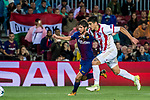 Sergi Roberto Carnicer (l) of FC Barcelona fights for the ball with Dimitris Nikolaou of duringiacos FC during the UEFA Champions League 2017-18 match between FC Barcelona and Olympiacos FC at Camp Nou on 18 October 2017 in Barcelona, Spain. Photo by Vicens Gimenez / Power Sport Images