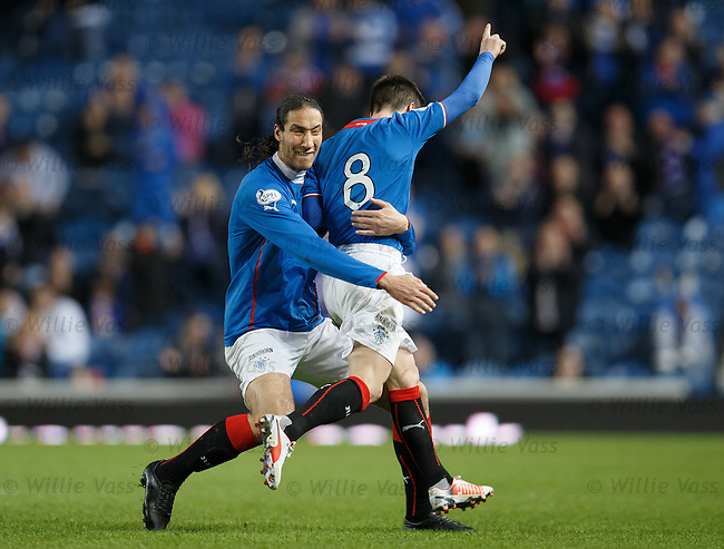 Bilel Mohsni celebrates with Ian Black