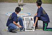Photo of the 31st Annual Los Angeles Regional Science Olympiad (also the 23rd Annual Los Angeles County Elementary Science Olympiad) on Occidental's campus, March 4, 2017. Kids from all across L.A. County participate in science workshops and competitions, including hovercraft testing, tennis ball catapults (seen here), and forensic science.<br /> <br /> (Photo by Nick Harrington, Occidental College Class of 2017)