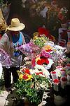 Flower seller in market in Santa Cruz,Tenerife. Tenerife, Canary Islands,Spain