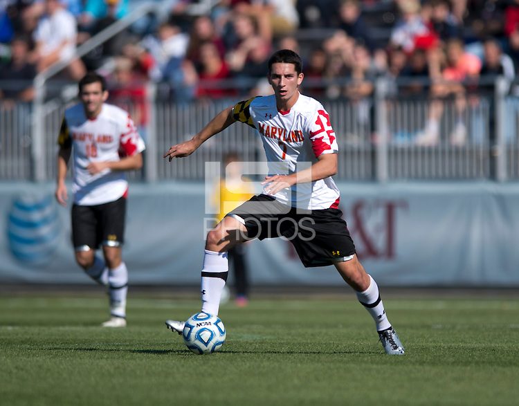 Dan Metzger (7) of Maryland carries the ball forward during the game at the Maryland SoccerPlex in Germantown, MD. Maryland defeated North Carolina, 2-1,  to win the ACC men's soccer tournament.