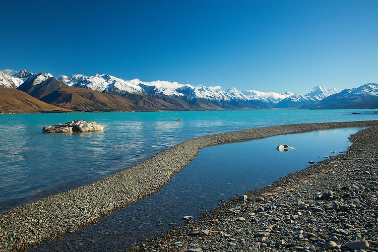 Lake Pukaki, Aoraki / Mount Cook, South Canterbury, New Zealand - stock photo, canvas, fine art print