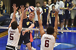 27 APR 2014: Alex McColgin (4) of Juniata College spikes against Springfield College during the Division III Men's Volleyball Championship held at the Kennedy Sports Center in Huntingdon, PA. Springfield defeated Juniata 3-0 to win the national title.  Mark Selders/NCAA Photos