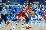 January 11, 2017:  Fresno State guard, Deshon Taylor #21, drives for the basket during the NCAA basketball game between the Fresno State Bulldogs and the Air Force Academy Falcons, Clune Arena, U.S. Air Force Academy, Colorado Springs, Colorado.  Air Force defeats Fresno State 81-72.