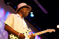 Buddy Guy solos on his Fender Stratocaster during a performance at World Cafe Live! in Philadelphia, September 16, 2005.