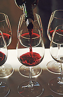 Wine poured in tasting glasses. Chateau Sansonnet, Saint Emilion, Bordeaux, France
