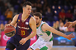 League ACB-ENDESA 2017/2018 - Game: 27.<br /> FC Barcelona Lassa vs Real Betis Energia Plus: 121-56.<br /> Thomas Heurtel vs Mikel Uriz.