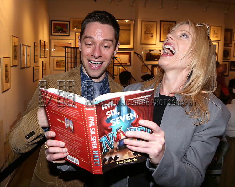 Tim Federle and Sherie Rene Scott attend Tim Federle's book party for 'Five, Six, Seven, Nate!' at Books of Wonder on January 27, 2014 in New York City.