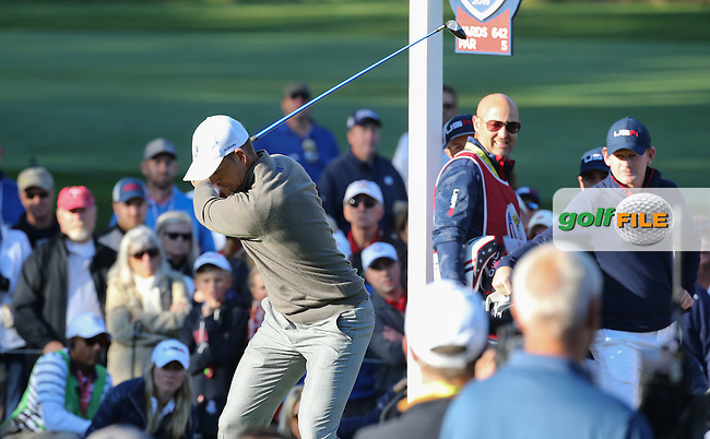 Henrik Stenson (Team Europe) drives from the 6th tee during the Saturday Morning Foursomes, at the 41st Ryder Cup 2016, at Hazeltine National Golf Club, Minnesota, USA.  01View of the 10th2016. Picture: David Lloyd | Golffile.