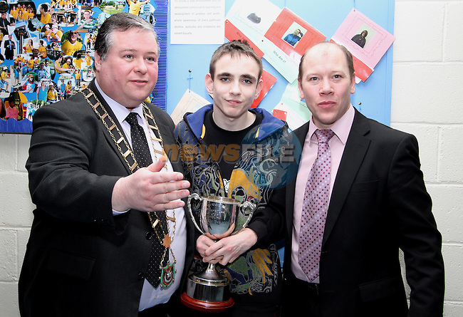 Mayor Paul Bell and Principal Michael Moley with Student of the Year, Matt Kavanagh at the St Itas School Awards and the Retirement Party for Rory McVeigh and Mairead Latimer...(Photo credit should read Jenny Matthews/www.newsfile.ie)....This Picture has been sent you under the conditions enclosed by:.Newsfile Ltd..The Studio,.Millmount Abbey,.Drogheda,.Co Meath..Ireland..Tel: +353(0)41-9871240.Fax: +353(0)41-9871260.GSM: +353(0)86-2500958.email: pictures@newsfile.ie.www.newsfile.ie.