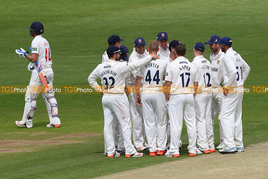 Jamie Porter (44) of Essex is congratulated by his team mates after taking the wicket of Chris Cooke (L) - Glamorgan CCC vs Essex CCC - LV County Championship Division Two Cricket at the SWALEC Stadium, Sophia Gardens, Cardiff, Wales - 20/05/15 - MANDATORY CREDIT: TGSPHOTO - Self billing applies where appropriate - contact@tgsphoto.co.uk - NO UNPAID USE