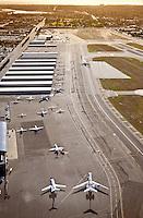 Aerial over Orange County 405 Freeway and John Wayne Airport
