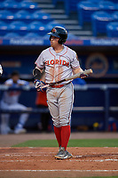 Florida Fire Frogs Riley Unroe (7) bats during a Florida State League game against the St. Lucie Mets on April 12, 2019 at First Data Field in St. Lucie, Florida.  Florida defeated St. Lucie 10-7.  (Mike Janes/Four Seam Images)