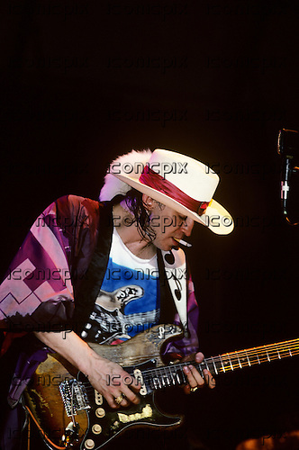 Stevie Ray Vaughan - performing live at The Pier in New York City USA - August 10,1985.  Photo credit: Ebet Roberts / IconicPix