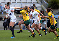Emily Scarratt makes a break during the 2017 International Women's Rugby Series rugby match between England Roses and Australia Wallaroos at Porirua Park in Wellington, New Zealand on Friday, 9 June 2017. Photo: Dave Lintott / lintottphoto.co.nz
