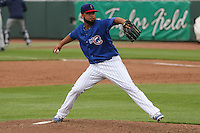 Iowa Cubs pitcher Carlos Pimentel (27) delivers a pitch during a Pacific Coast League game against the Colorado Springs Sky Sox on May 10th, 2015 at Principal Park in Des Moines, Iowa.  Iowa defeated Colorado Springs 14-2.  (Brad Krause/Four Seam Images)