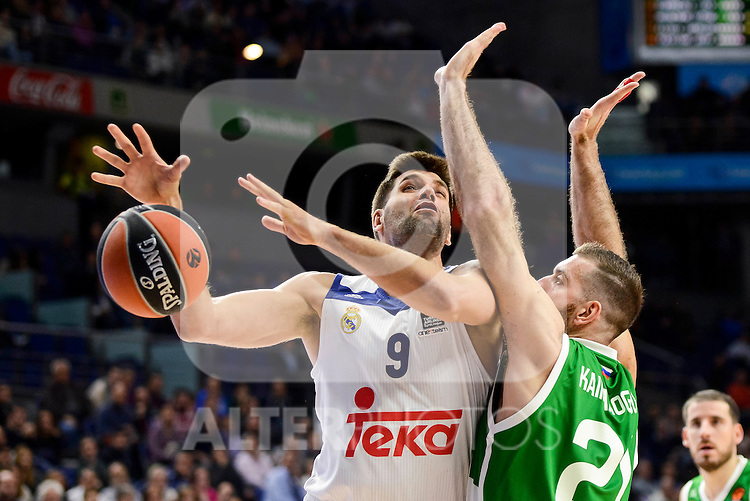Real Madrid's player Felipe Reyes and Unics Kazan's player Kostas Kaimakoglou during match of Turkish Airlines Euroleague at Barclaycard Center in Madrid. November 24, Spain. 2016. (ALTERPHOTOS/BorjaB.Hojas)