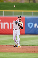Kaleb Cowart (22) of the Salt Lake Bees on defense against the Sacramento River Cats at Smith's Ballpark on April 19, 2018 in Salt Lake City, Utah. Salt Lake defeated Sacramento 10-7. (Stephen Smith/Four Seam Images)