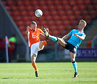 Blackpool's Jay Spearing in action with Fleetwood Town's Kyle Dempsey<br /> <br /> Photographer Mick Walker/CameraSport<br /> <br /> The EFL Sky Bet League One - Blackpool v Fleetwood Town - Saturday 14th April 2018 - Bloomfield Road - Blackpool<br /> <br /> World Copyright &copy; 2018 CameraSport. All rights reserved. 43 Linden Ave. Countesthorpe. Leicester. England. LE8 5PG - Tel: +44 (0) 116 277 4147 - admin@camerasport.com - www.camerasport.com