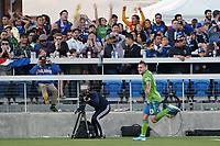 SAN JOSE, CA - SEPTEMBER 29: Jordan Morris #13 of the Seattle Sounders FC celebrates scoring during a Major League Soccer (MLS) match between the San Jose Earthquakes and the Seattle Sounders on September 29, 2019 at Avaya Stadium in San Jose, California.