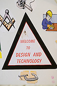 Design & Technology Department sign, State Secondary Roman Catholic school.