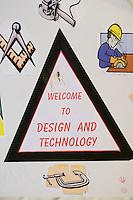 Design & Technology Department sign, State Secondary Roman Catholic school.