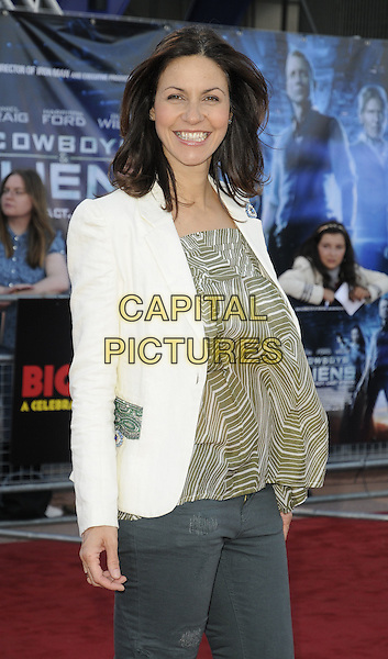 JULIA BRADBURY.UK Premiere of 'Cowboys and Aliens' at the Cineworld cinema at the O2 Arena, London, England..August 11th 2011.half length jeans denim white blazer jacket beige green print pattern top stripe  .CAP/CAN.©Can Nguyen/Capital Pictures.