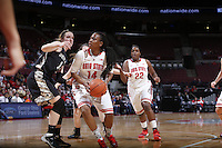 Ohio State Buckeyes guard Ameryst Alston (14) looks for a way around Army Black Knights forward Olivia Schretzman (12) during the first half of Friday's NCAA Division I basketball game at Value City Arena in Columbus on December 13, 2013. (Barbara J. Perenic/The Columbus Dispatch)