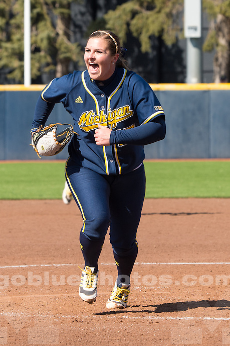 The University of Michigan softball team defeats Ohio State, 1-0, at Alumni Field in Ann Arbor on April 5, 2014.