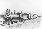 Engine #166 pulling passenger train.<br /> D&amp;RG    ca 1890