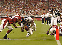 Aug. 31, 2006; Glendale, AZ, USA; Denver Broncos running back (37) Cecil Sapp scores a touchdown against the Arizona Cardinals at Cardinals Stadium in Glendale, AZ. Mandatory Credit: Mark J. Rebilas