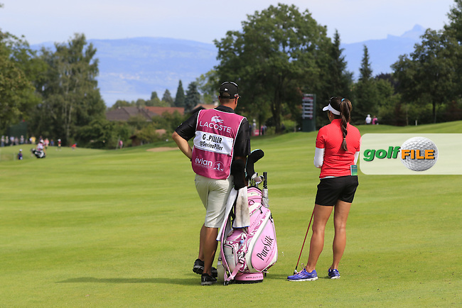 Gerina Piller (USA) prepares to play her 2nd shot on the 13th hole during Sunday's Final Round of the LPGA 2015 Evian Championship, held at the Evian Resort Golf Club, Evian les Bains, France. 13th September 2015.<br /> Picture Eoin Clarke | Golffile
