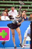 12th January 2018,  Kooyong Lawn Tennis Club, Kooyong, Melbourne, Australia; Priceline Pharmacy Kooyong Classic tennis tournament; Andrea Petkovic of Germany serves against Belinda Bencic of Switzerland during the Women's final of the Kooyong Classic