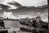 PANAMA, Panama City, Old Town Panama City and the Gulf of Panama (B&W)