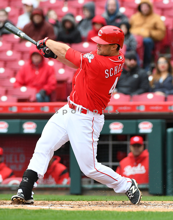 Cincinnati Reds Scott Schebler (43) during a game against the Philadelphia Phillies on April 6, 2017 at Great American Ballpark in Cincinnati, OH. The Reds beat the Phillies 4-7.