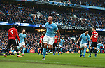 Vincent Kompany of Manchester City celebrates scoring the first goal during the premier league match at the Etihad Stadium, Manchester. Picture date 7th April 2018. Picture credit should read: Simon Bellis/Sportimage