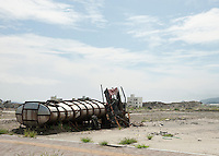 Landscape view of a damaged truck in Rikuzentakata City following the 311 Tohoku Tsunami in Rikuzentakata, Japan  © LAN