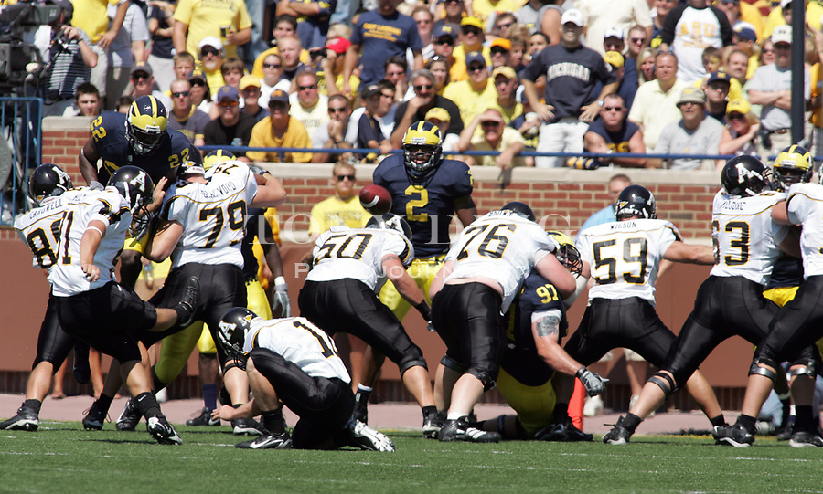 1 September 2007: DESCRIPTION in the 2007 season opener college football game between the Michigan Wolverines and Appalachian State Mountaineers at Michigan Stadium in Ann Arbor, MI.