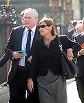 David Frost Memorial Service at Westminster Abbey<br /> <br /> sky news political editor Adam Boulton  wife Anji Hunter<br /> <br /> <br /> <br /> <br /> Pic by Gavin Rodgers/Pixel 8000 Ltd